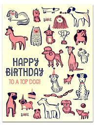 hello this is dog happy birthday. happy birthday to a top dog letterpress greeting card - hello lucky this is