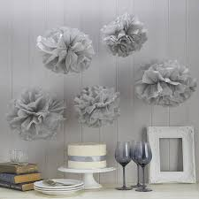 Pom Pom Decorations Pack Of Five Grey Tissue Paper Pom Poms By Ginger Ray