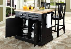 Butcher Block Top Kitchen Island with Black Shield Back Stools
