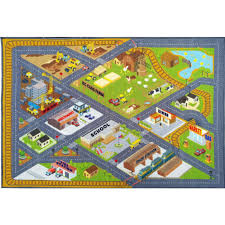 kc cubs multi color kids children bedroom farm road map construction educational learning 8 ft