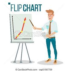 Flip Chart Seminar Concept Vector Man Showing Presentation Flat Cartoon Isolated Illustration Business Info Graphic Pie Graph Briefcase