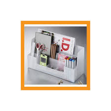 white desk organizer office caddy storage stationery box accessory caddy stand tray