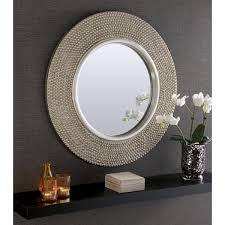 Rome Large Round Silver Stud Framed Wall Mirror - 31
