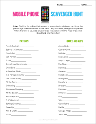 mobile phone scavenger hunt free printable