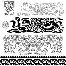 Mayan Patterns Mesmerizing Vector Of Ancient Patterns With Mayan Gods And Ornaments Royalty