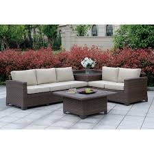 furniture of america langston contemporary outdoor patio sectional with corner table by foa