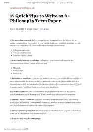 quick tips to write an a philosophy term paper quickessaywr  4 23 2016 17 quick tips to write an a philosophy term paper