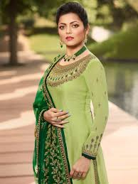 Light Green Combination Light Green In Combination Traditional Embroidered Churidar
