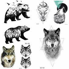 юран геометрический волк временные татуировки наклейки женщины птицы медведь