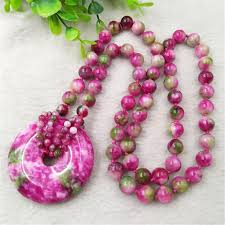 whole qinghai peach blossom red jade safe buckle pendant round pearl sweater chain exquisite fashion gold pendant necklace heart pendant necklace from