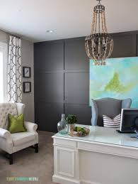 glamorous glass top office desk plus grey fabric upholstered chair and white leather single couch featuring
