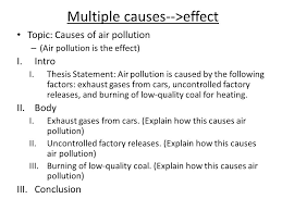 cause and effect essay cause and effect essays a cause effect  multiple causes  gteffect topic causes of air pollution  air pollution