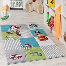 Kinder Teppich Pirat Grün Creme Türkis Kinder Teppiche