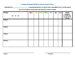 Homework Chart For Parents Therapy Homework Parent Communication Chart