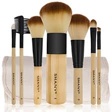 shany bamboo brush set with premium synthetic hair bamboo handles and cotton pouch