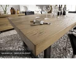 Esstisch Eiche Massiv Tisch Im Industriedesign Gestell Aus Metall