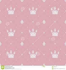 Naadloos Patroon In Retro Stijl Met Een Witte Kroon Op Een Roze