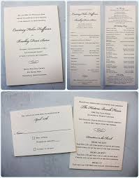 formal navy scroll on cream linen thermography wedding invitations and digital ceremony programs