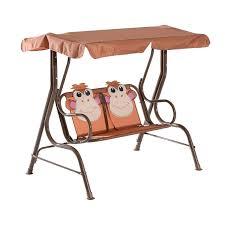 kids outdoor swing seat bench childrens garden swings 2 seater metal frame set