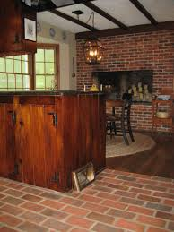 Bricks Flooring Dark Brown Elegant Varnished Hard Oak Wood Kitchen