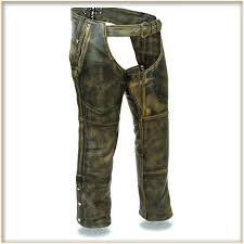 milwaukee leather model mlm5500 mens brown distressed lined motorcycle chaps view larger image