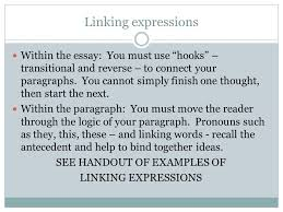 "points to consider writing an effective ""literary analysis"" essay  linking expressions in the essay you must use hooks transitional and reverse to"