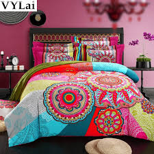 queen king size 100 organic cotton bohemian boho style colourful comforter sets duvet cover sets girls comforter modern bedding in bedding sets from home