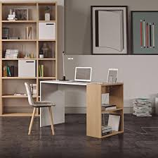modern office desk. Temahome Harbour Modern Study Desk In White/Natural Oak With Side Storage And Tablet Office S
