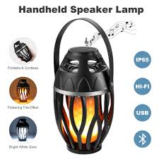 led flame speaker outdoor portable bluetooth wireless speaker led atmosphere light lamp usb charging with led flickers warm yellow dancing light creating