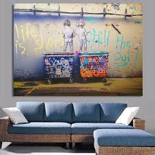 Living Room Canvas Paintings Aliexpresscom Buy Life Is Short Banksy Canvas Painting Wall