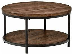industrial round coffee table pine