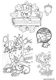 Coloriage Novembre Paysage Arbre Feuille Automne Jecolorie Com