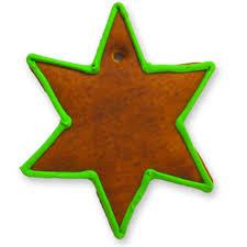Gingerbread Christmas Star Blank With Border Green