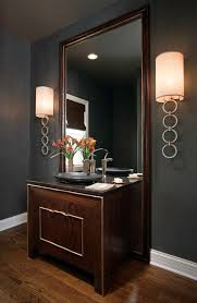 wall sconces living room powder room contemporary with floor mirror dark wood mirror