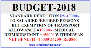 Standard Deduction To Salaried Persons Simple Tax India