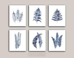 fern art print set 6 indigo blue ferns