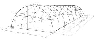 Parts and diagram that describe the construction of a quonset style greenhouse built with pipe and kee kl fittings