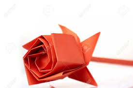 Flower Made In Paper Rose Flower Made Of Paper Beautifully Folded Bulb Made Of Red