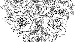 flowers and hearts coloring pages of free printable rose page love heart colouring to print g