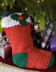 Crochet Christmas Stocking Pattern Classy Holly Stocking FaveCrafts
