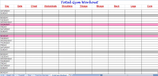 Total Gym Workout Plan Spreadsheet