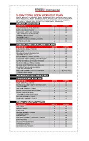 Total Body Gym Workout Chart 5 Day Total Body Workout Plan Tone Tighten Your Body From