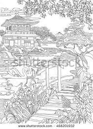 Small Picture Coloring Pages Japanese House On River Stock Vector 468201932