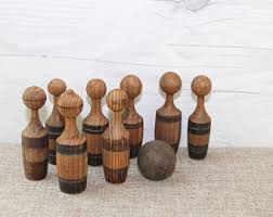 Antique Wooden Bowling Game Vintage Turned Wood Skittles Game Pins Set of 100 Vintage 85