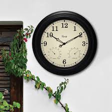 in outdoor black wall clock with thermometer and
