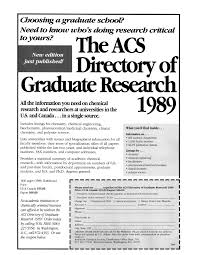 The Acs Directory Of Graduate Research 1989