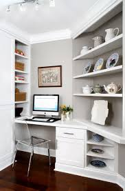 gray office ideas. Cool Office Ideas For Small Space With Built In Desk And Acrylic Chair Plus Shelves Gray Walls Also Track Lighting White Molding Dark L