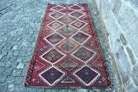 aztec wool runner rug free feet vintage turkey