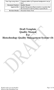 Quality Manual Template Draft Template Quality Manual For Biotechnology Quality Management 15