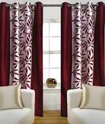 Maroon Curtains For Living Room Home Candy Set Of 2 Door Eyelet Curtains Floral Red Buy Home